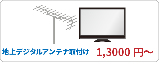 地上デジタルアンテナ取付け 13000円~